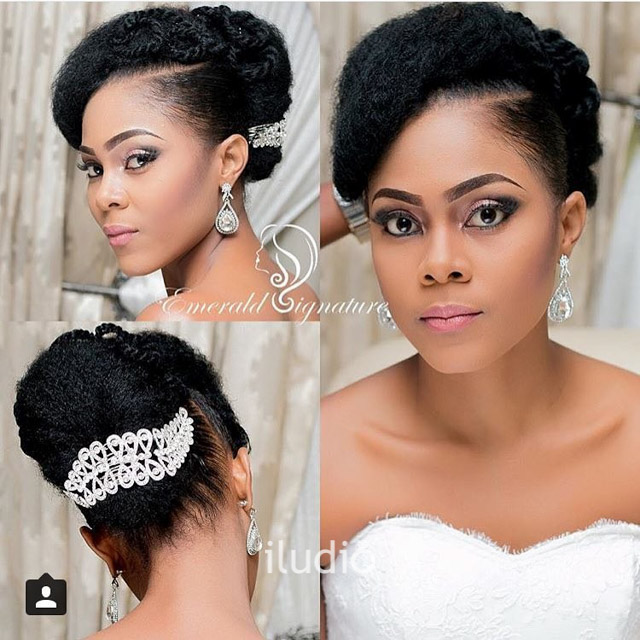 Natural Hairstyles For Wedding Day: HSL1 - Side Swoop Natural Hair Updo